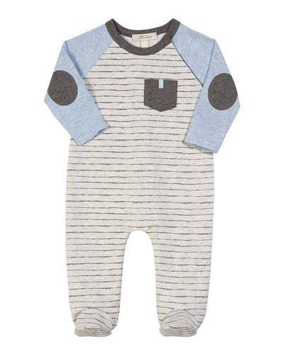 Colorblock Striped Footed Coverall, Size 3-9 Months