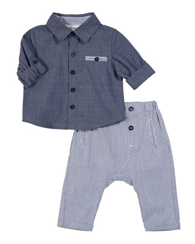 Chambray Collared Shirt w/ Striped Pants, Size 3-24 Months