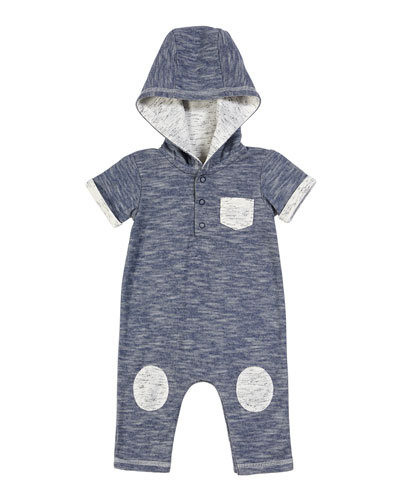Hooded Romper w/ Knee Patches, Size 3-24 Months