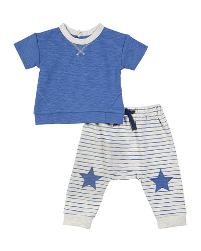 Short-Sleeve Top w/ Striped Joggers, Size 3-24 Months