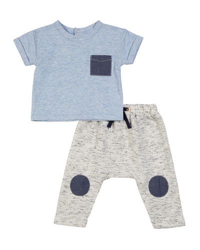 Short-Sleeve Top w/ Knee Patches Pant, 3-24 Months