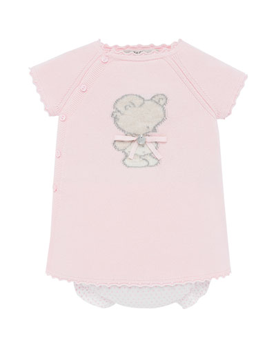 Knit Bear Intarsia Dress w/ Polka-Dot Bloomers  Size 3M-2
