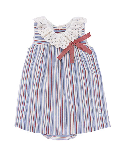Eyelet-Collar Striped Dress w/ Matching Bloomers  Size 12M-3