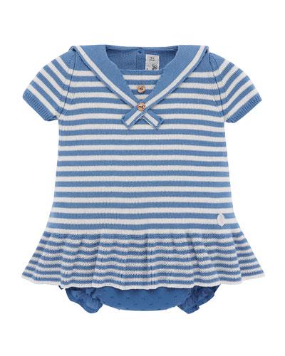 Nautical Stripe Knit Dress w/ Swiss Dot Bloomers, Size 3M-2