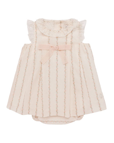 Lace-Trim Floral Striped Dress w/ Bloomers  Size 3-18 Months