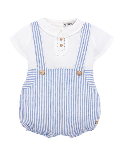 Ticking Striped Suspender Trousers w/ Blouse, Size 3M-2