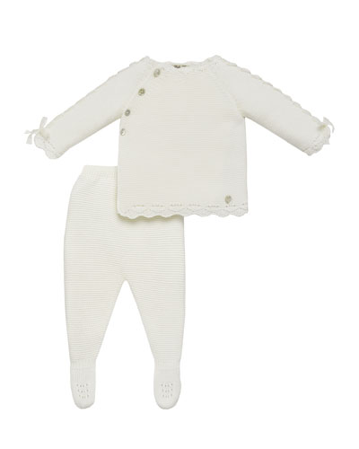 Asymmetric Button Knit Sweater w/ Footed Leggings, Size 1-6 Months