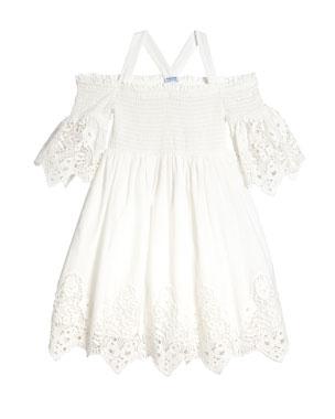 991e98e97 Mayoral Lace-Trim Off-the-Shoulder Smocked Dress, Size 8-16