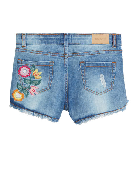 Mayoral Distressed Denim Shorts w/ Floral Embroidery, Size 8-16