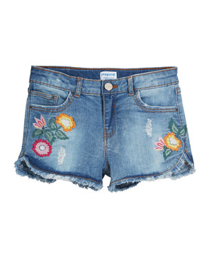 ab0e8803dde3 Mayoral Distressed Denim Shorts w  Floral Embroidery