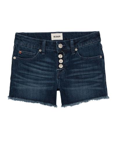 Luna Raw-Edge Denim Shorts, Size 7-16