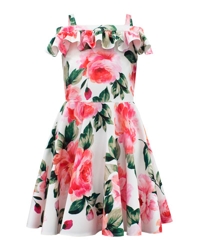 Scuba Knit Rose-Print Dress  Size 8-16
