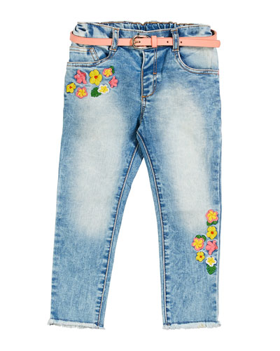 Flower Embroidered Faded Denim Jeans  Size 12-36 Months