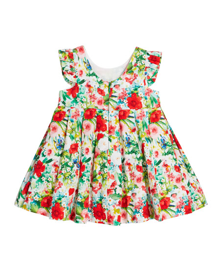 Mayoral Voile Floral-Print Bow Pleated Dress, Size 12-36 Months