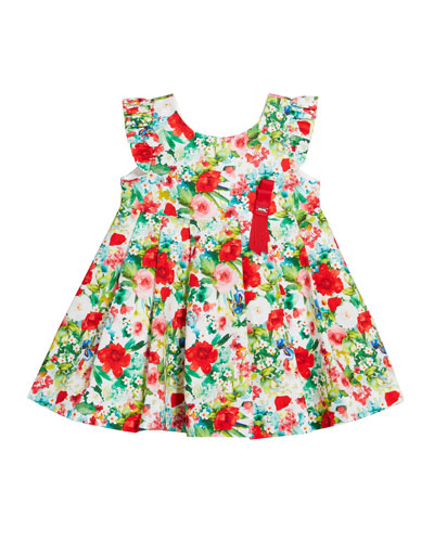 Voile Floral-Print Bow Pleated Dress  Size 12-36 Months