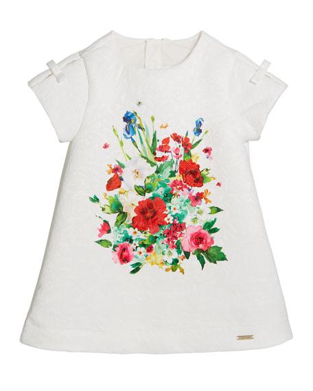 Mayoral Jacquard Floral-Print A-Line Dress, Size 12-36 Months