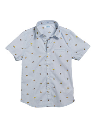 cabcdaba7e8 Mayoral Camping Icons Collared Short-Sleeve Shirt