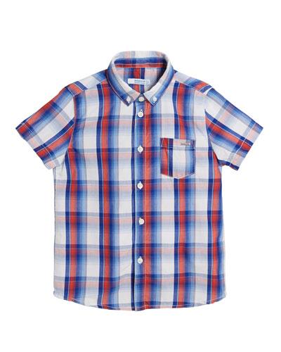 Short-Sleeve Plaid Shirt  Size 4-7