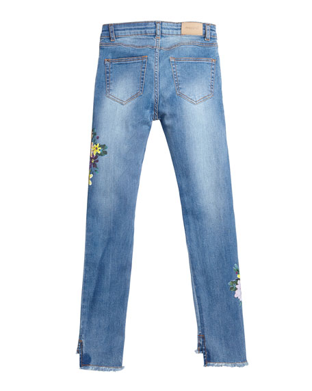 Mayoral Floral Embroidered Raw-Edge Denim Jeans, Size 8-16