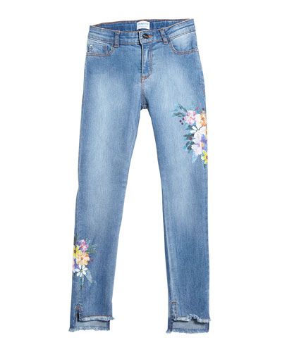 Floral Embroidered Raw-Edge Denim Jeans, Size 8-16