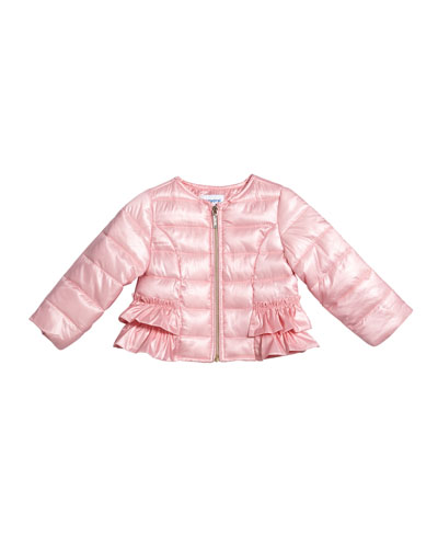 Padded Ruffle-Trim Wind Jacket, Size 12-36 Months