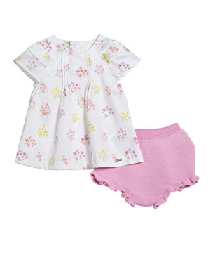 e928fd6eb6 Mayoral Floral Pintucked Blouse w  Knit Bloomers