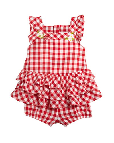 Gingham Ruffle-Trim Romper, Size 12-36 Months
