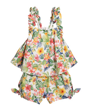 88e507750 Mayoral Voile Jungle Floral Print Romper, Size 12-36 Months