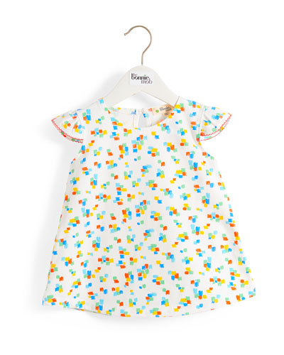 Multicolored Brushstroke Print Dress w/ Frill Shoulders  Size 6-24 Months