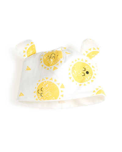 Sunshine Smiley Face Baby Hat w/ Animal Ears
