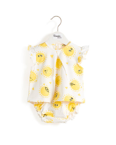 Frill Sleeve Sunshine Smiley Face Top w/ Matching Bloomers  Size 0-24 Months