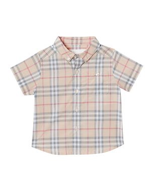 082a1353968fa Burberry Trauls Washed Check Button-Down Shirt
