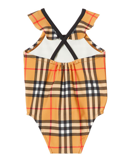 Burberry Crina Check Print One-Piece Swimsuit, Size 6M-2