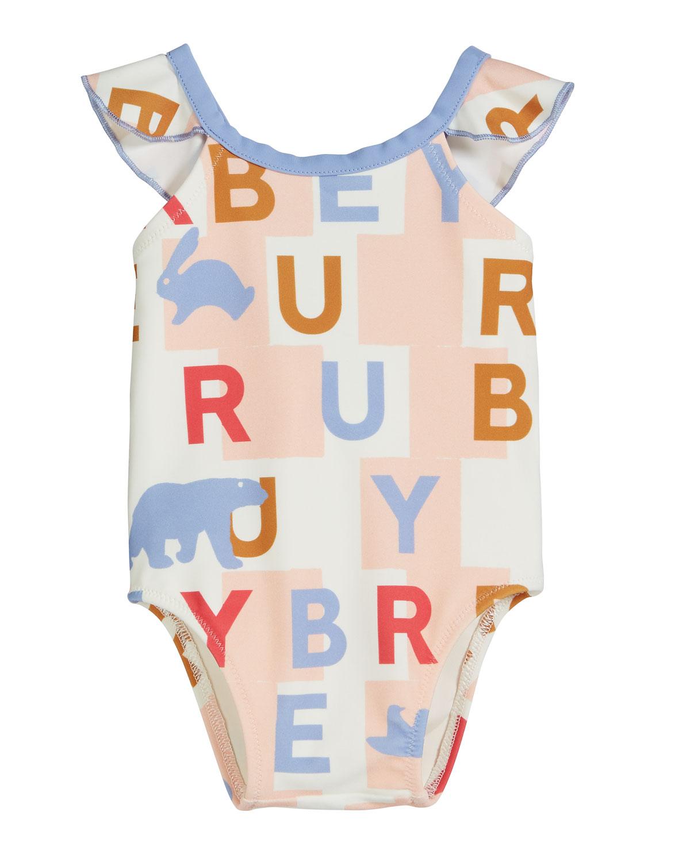 793d31fa10 Burberry Crina Logo Print One-Piece Swimsuit, Size 6M-2 | Neiman Marcus