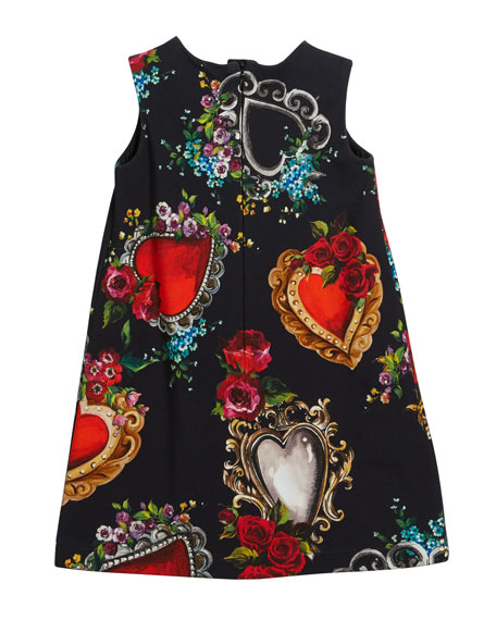 Dolce & Gabbana Heart & Rose Print Sleeveless Dress, Size 4-6