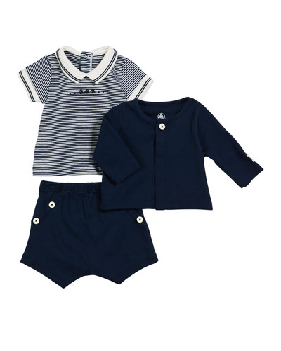 Short-Sleeve Striped Tee w/ Solid Cardigan & Shorts  Size 1-18 Months