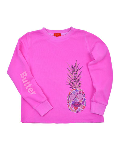 Crystal-Studded Pineapple Aloha Sweatshirt  Size S-XL