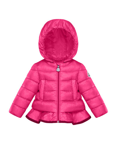 Quilted Ruffle-Hem Hooded Coat  Size 12M-3