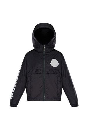 Moncler Saxophone Hooded Nylon Jacket w/ Logo Sleeve, Size 4-6