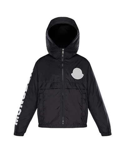 Hooded Nylon Jacket w/ Logo Sleeve  Size 4-6