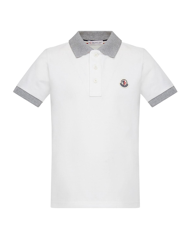 94c6dc0c Moncler Contrast Trim Short-Sleeve Polo Shirt, Size 8-14   Neiman Marcus