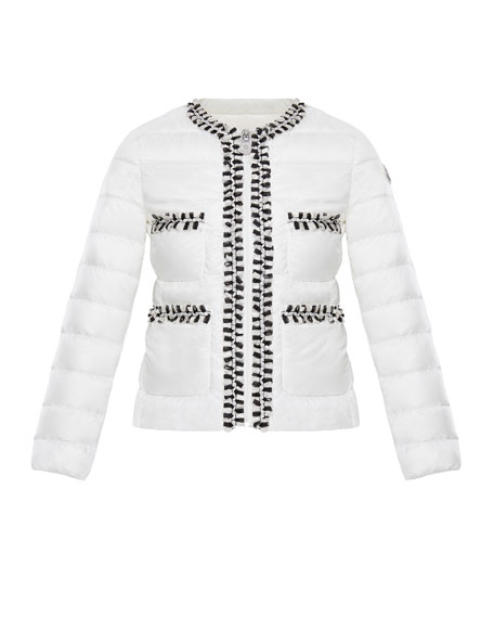 Moncler Loop-Trim Quilted Jacket, Size 8-14