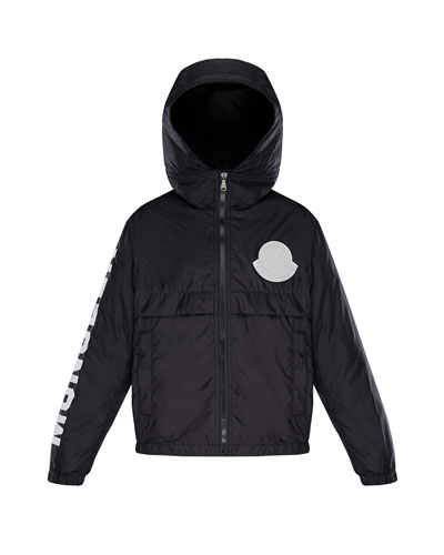 Hooded Nylon Jacket w/ Logo Sleeve  Size 8-14