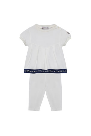 Moncler Logo Embroidered Pleat Top w/ Matching Leggings, Size 12M-3