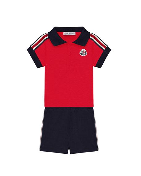 Moncler Polo Shirt & Shorts Set, Size 3-24