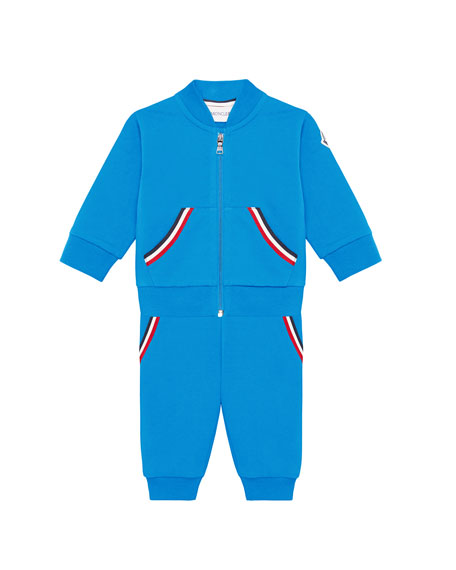 Moncler Striped-Trim Sweat Suit Set, Size 12M-3