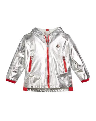 Metallic Zip-Up Hooded Jacket  Size 4-6