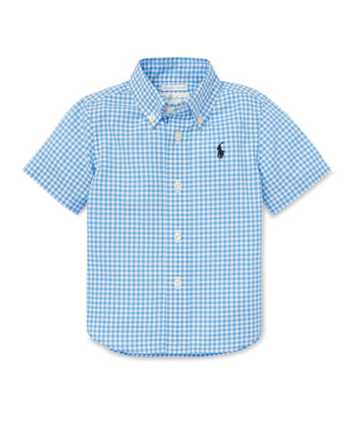 Gingham Short-Sleeve Collared Shirt, Size 12-24 Months