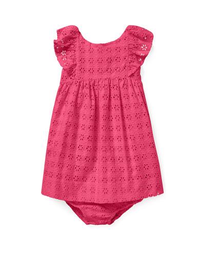 Eyelet Woven Ruffle-Trim Dress, Size 6-24 Months