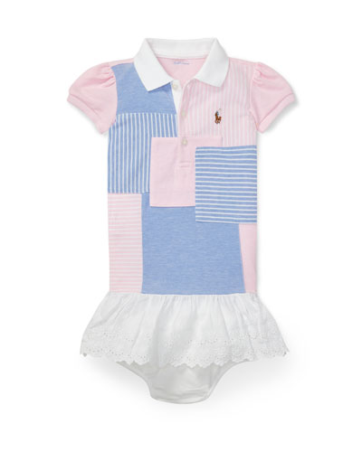 Knit Patchwork Dress w/ Bloomers, Size 6-24 Months
